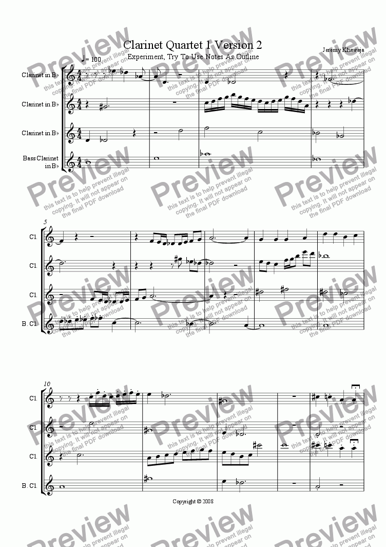 page one of Clarinet Quartet 1 Version 1