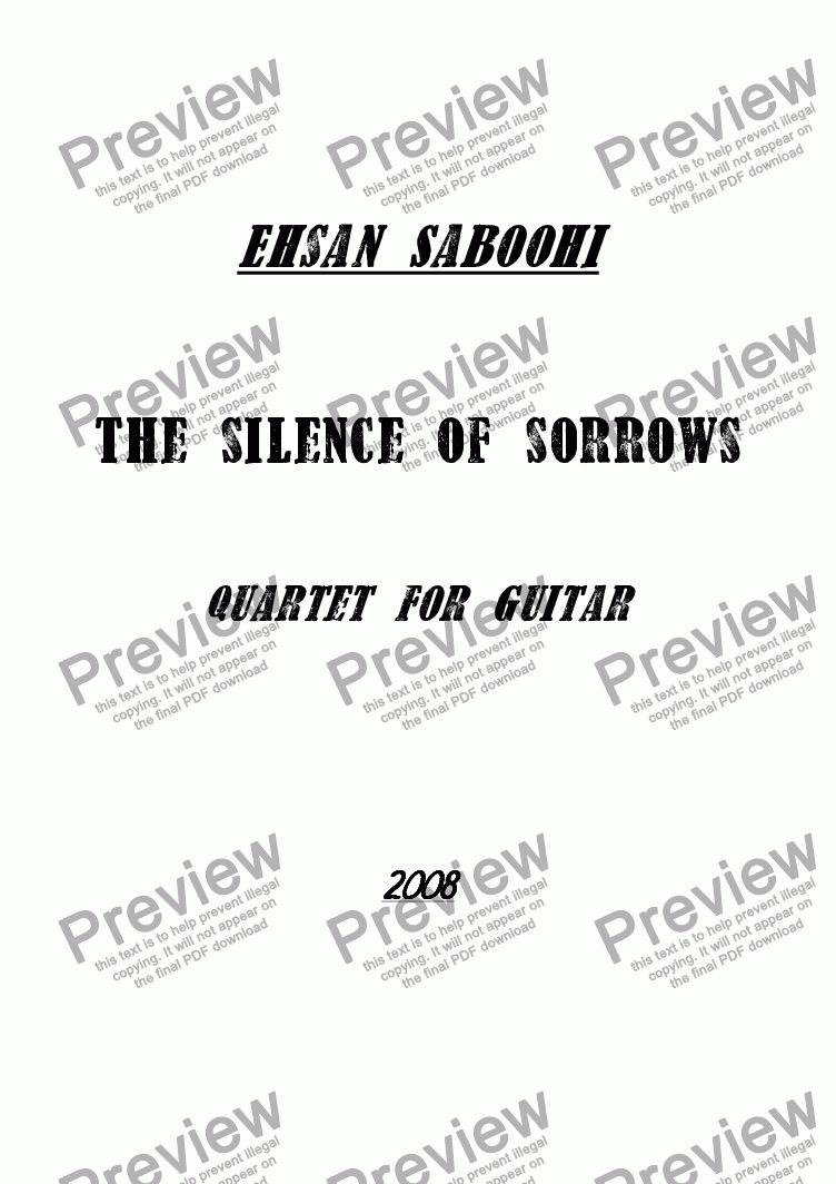 page one of The silence of  sorrows (Quartet for guitar)