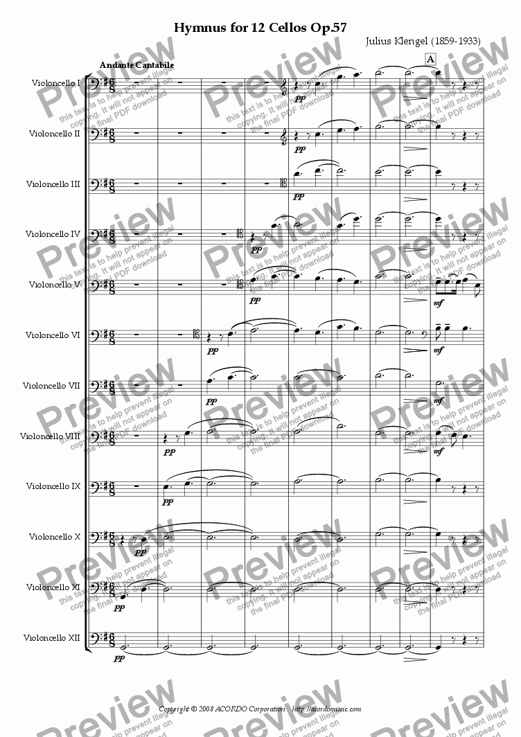page one of Hymnus for 12 Violoncellos, Op.57