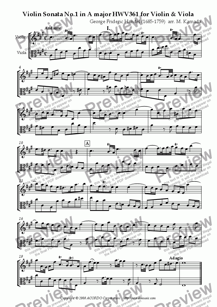 page one of Violin Sonata No.1 in A major (HWV 361) for Violin & Viola