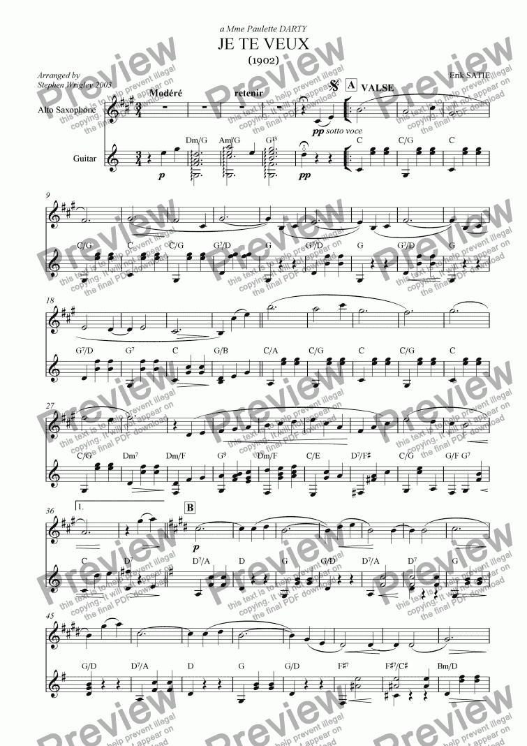 JE TE VEUX Sheet music for Violin (Solo)   Musescore.com