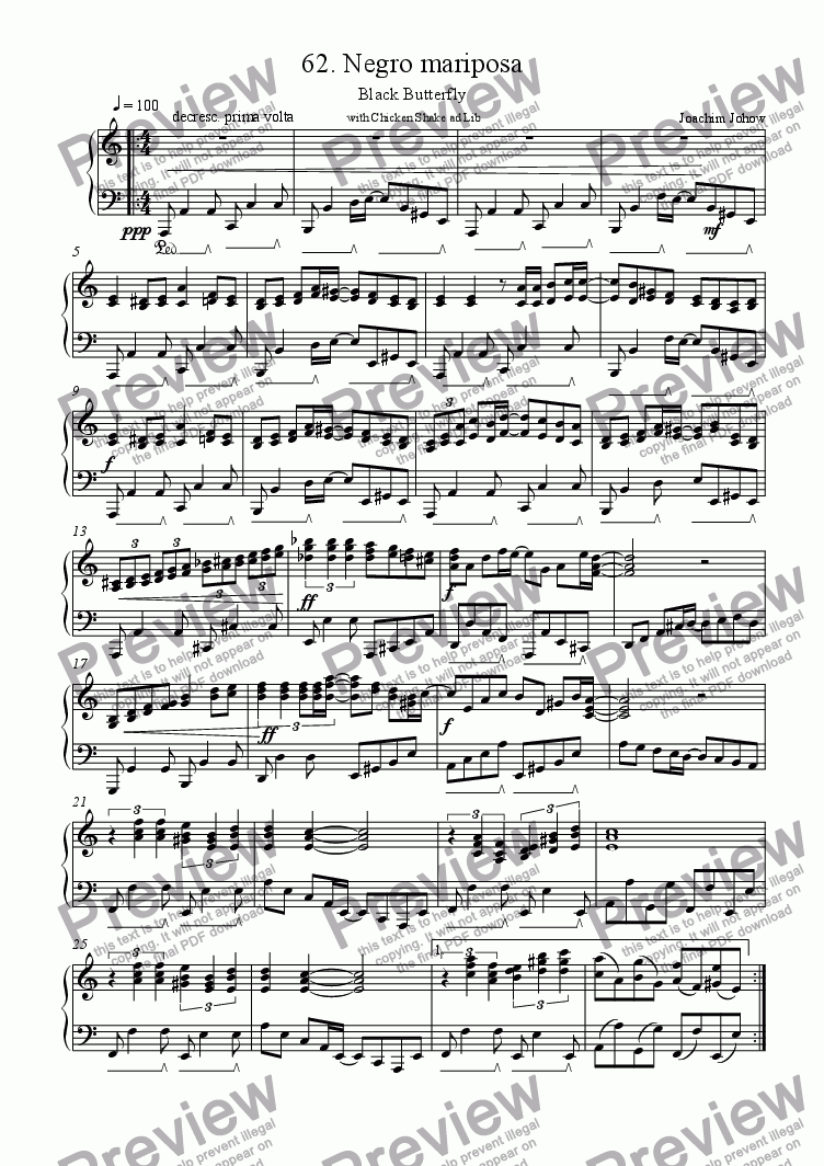 page one of Piano Book 062 (Negro mariposa)
