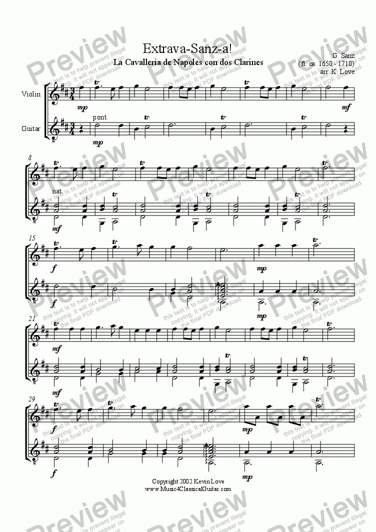 page one of Extrava-Sanz-a! (Violin and Guitar)
