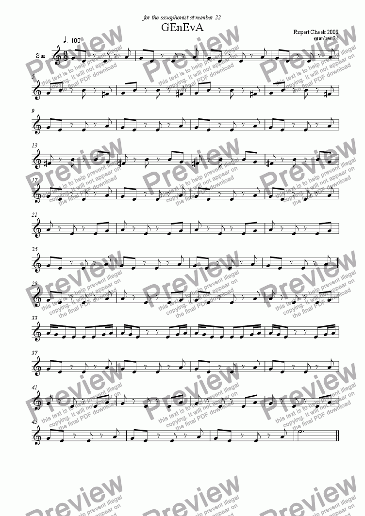 page one of Geneva Sax