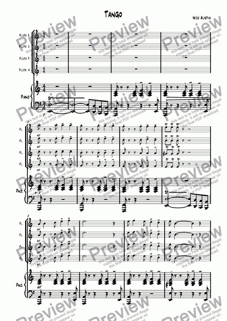 page one of Dance Suite 1. Tango