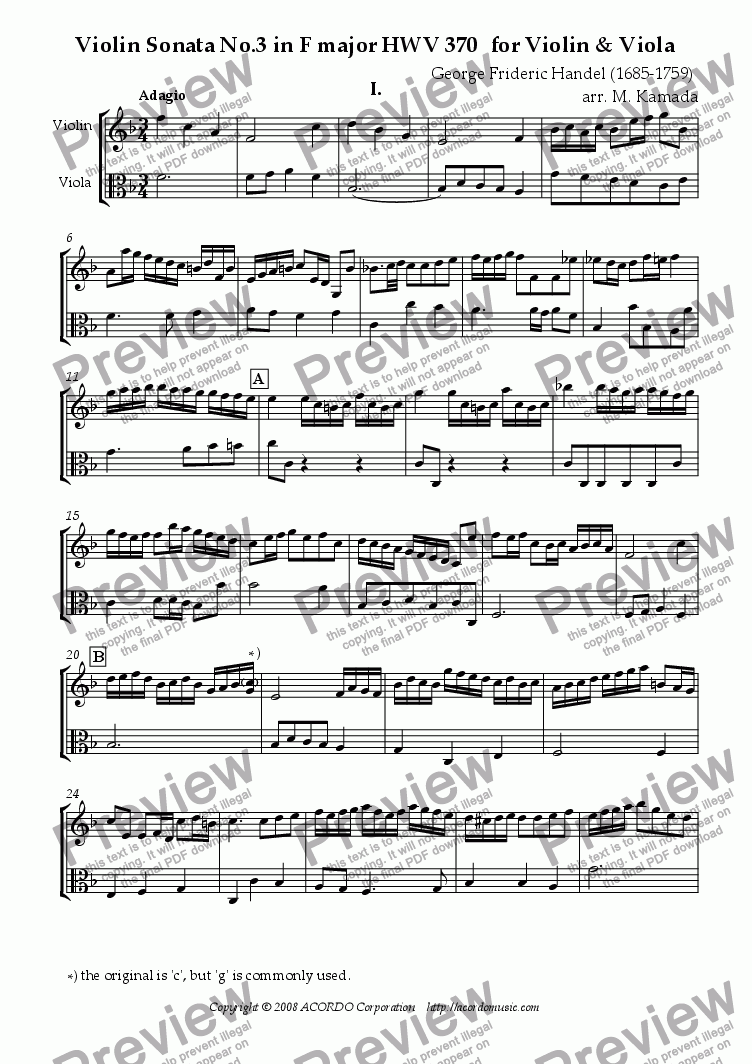 page one of Violin Sonata No.3 in F major HWV 370 for Violin & Viola