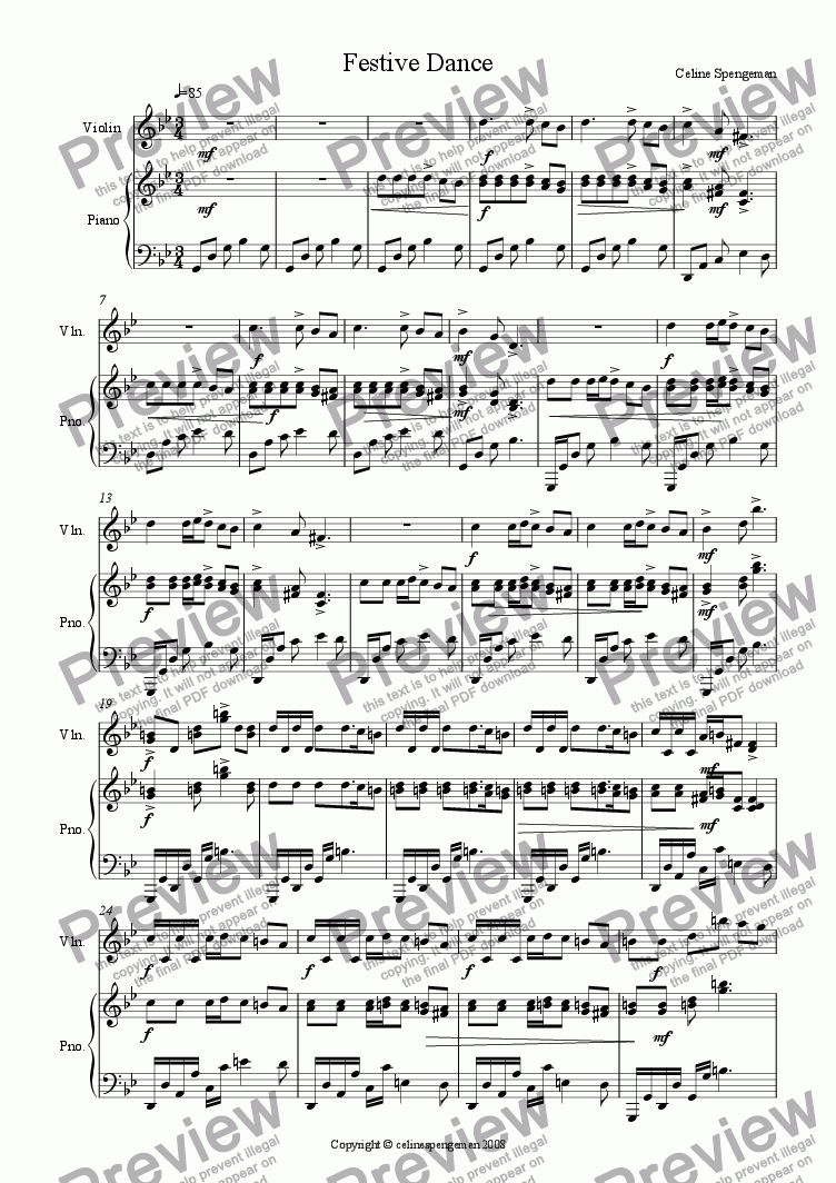 page one of Festive Dance (Piano and Violin)-(SG)