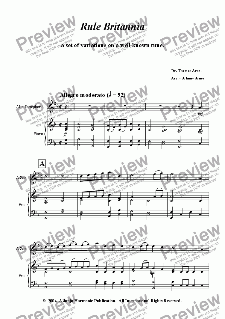 page one of Rule Britannia   (Variations)  Alto Sax and Piano
