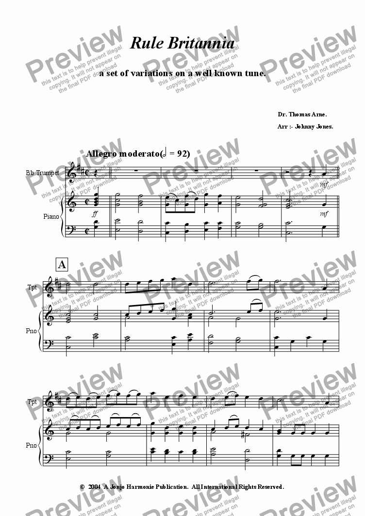page one of Rule Britannia  (Variations for Trumpet and Piano)