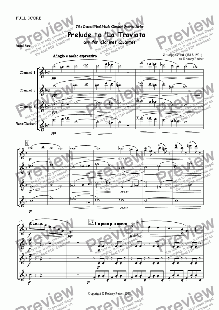 page one of Prelude to 'La Traviata' arr for Clarinet Quartet
