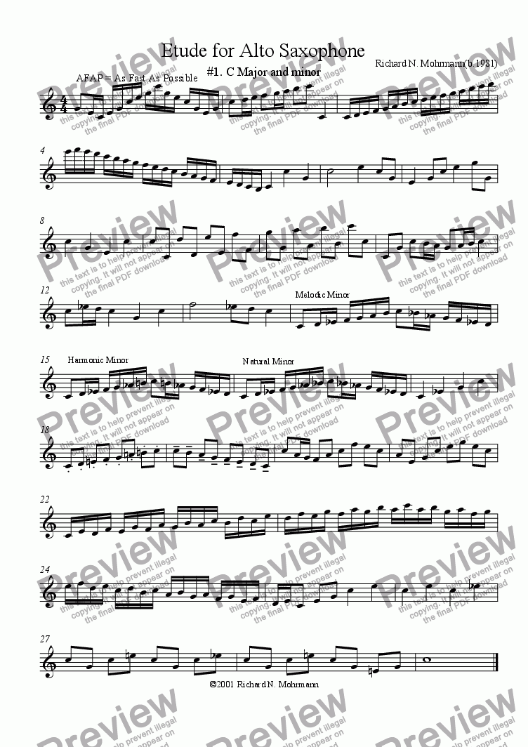 page one of Etude for Alto Saxophone: #1. C Major and minorASALTTEXT