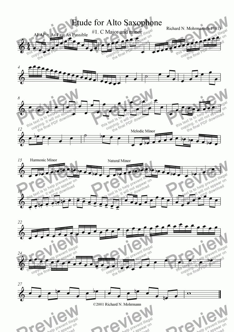 Etude For Alto Saxophone 1 C Major And Minor Sheet Music Pdf File