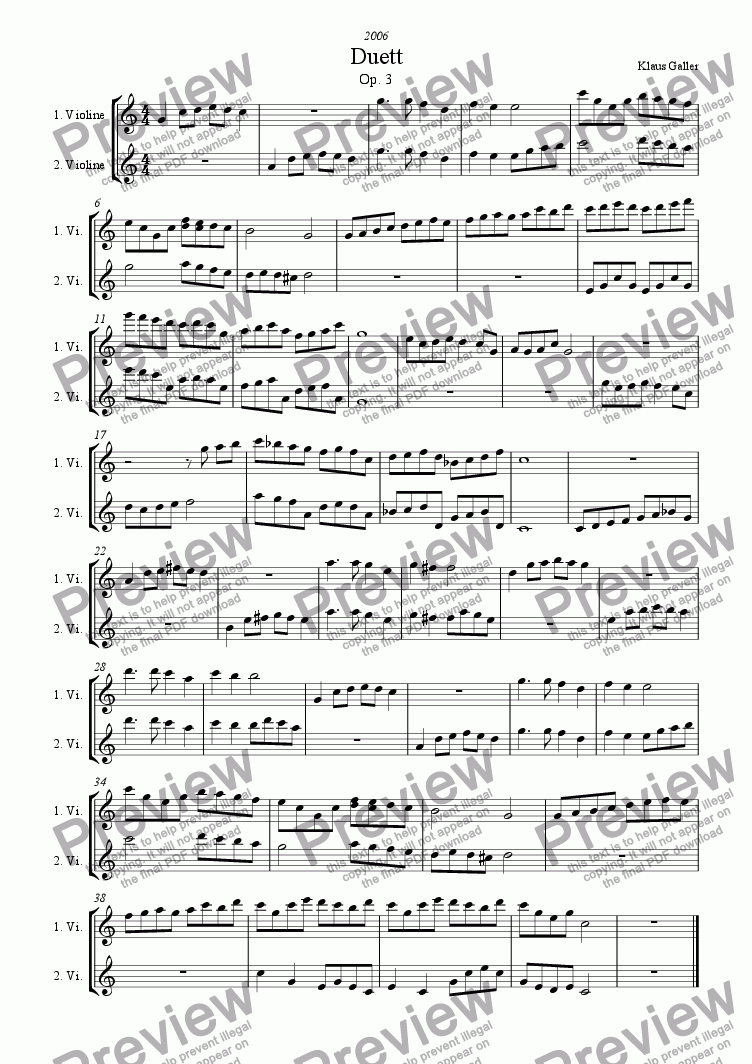 page one of Duett, Op. 3