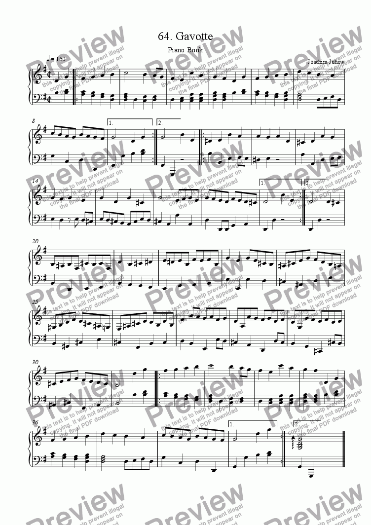 page one of Piano Book 064 (Gavotte)ASALTTEXT