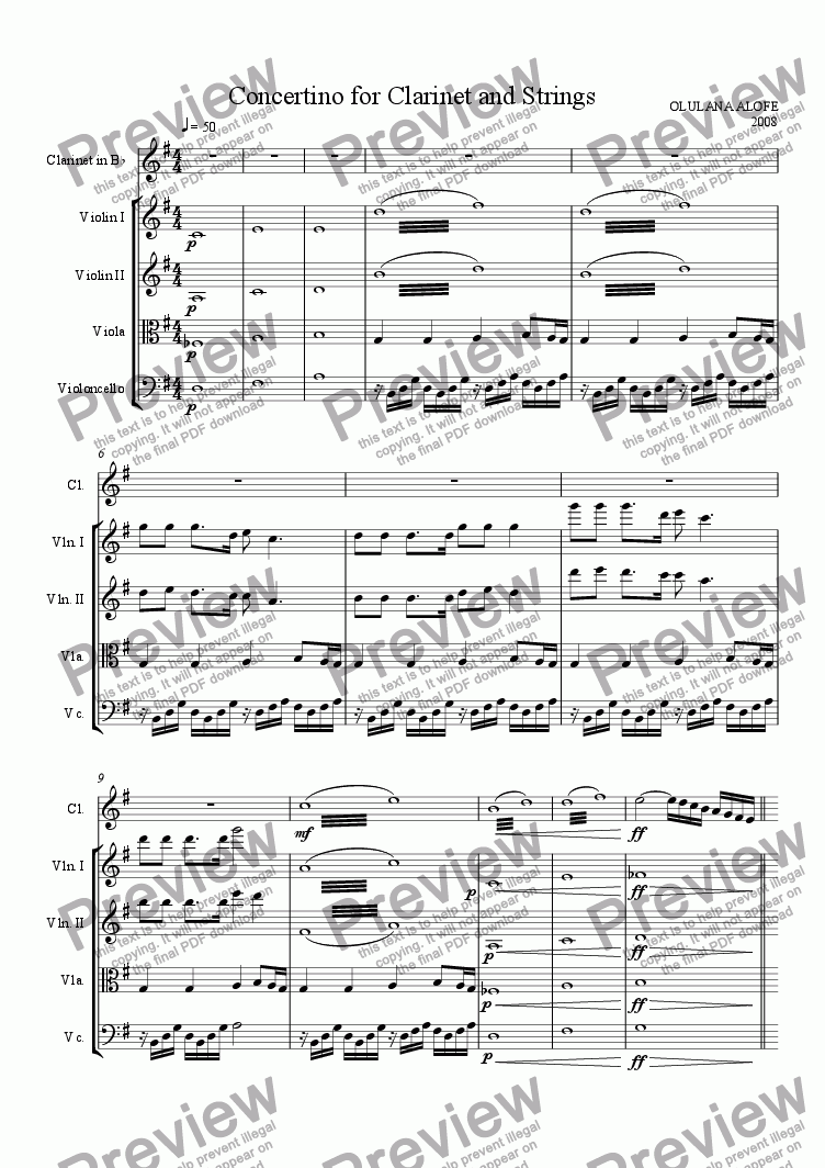 page one of Concertino for Clarinet and Strings