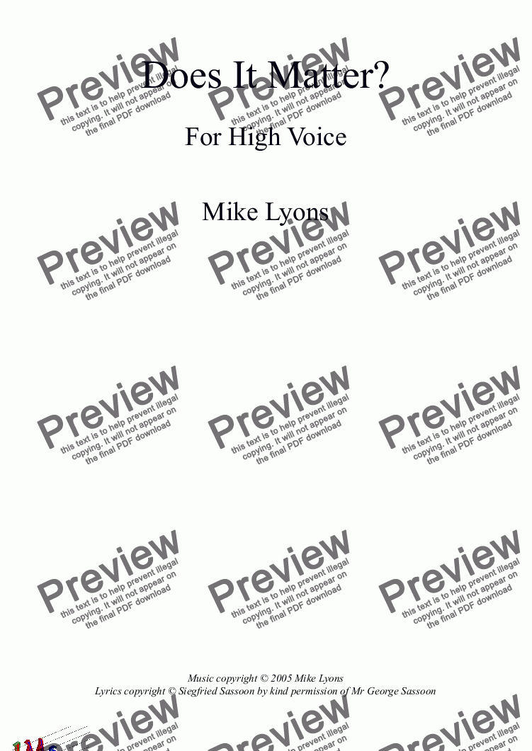 page one of Song for  high voice (Tenor/Soprano) - Does It Matter?