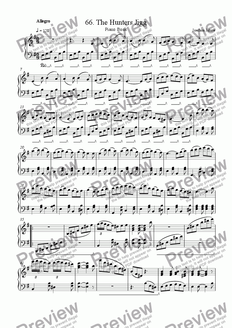 page one of Piano Book 066 (The Hunters Jigg)