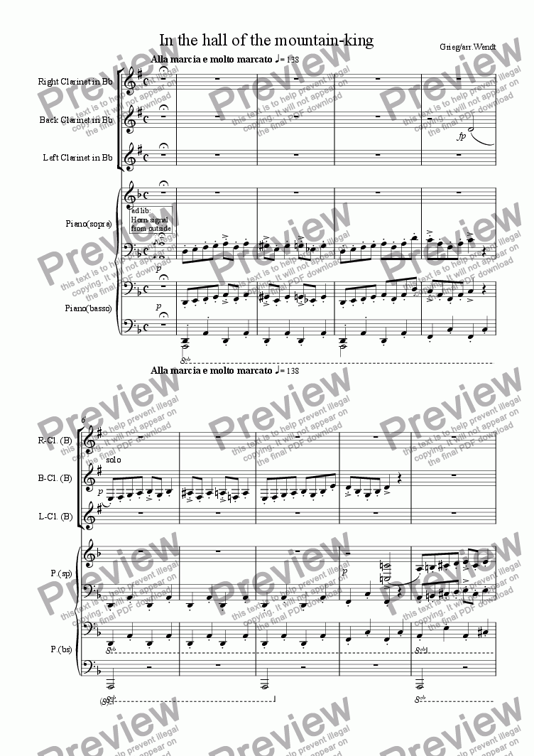 page one of 3 Clarinets in the hall of the 4hand-piano-king