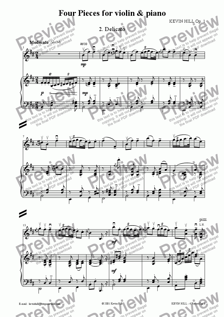 page one of 4 Pieces for violin & piano Op. 1 (2 of 4)