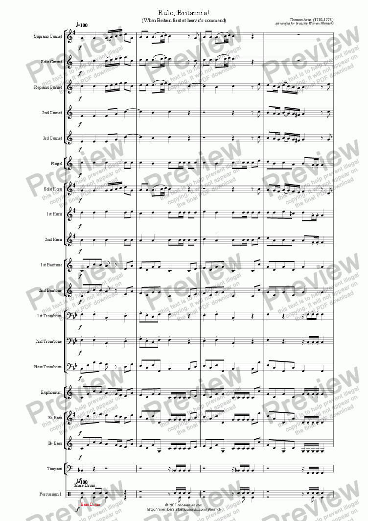 page one of Rule Britannia! (When Britain first at heav'n's command) for Brass Band