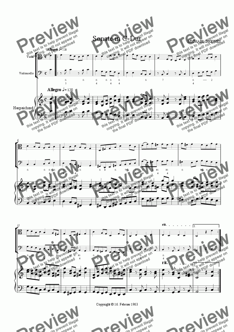 page one of Sonata in C Major for Viola, Cello and Harpsichord