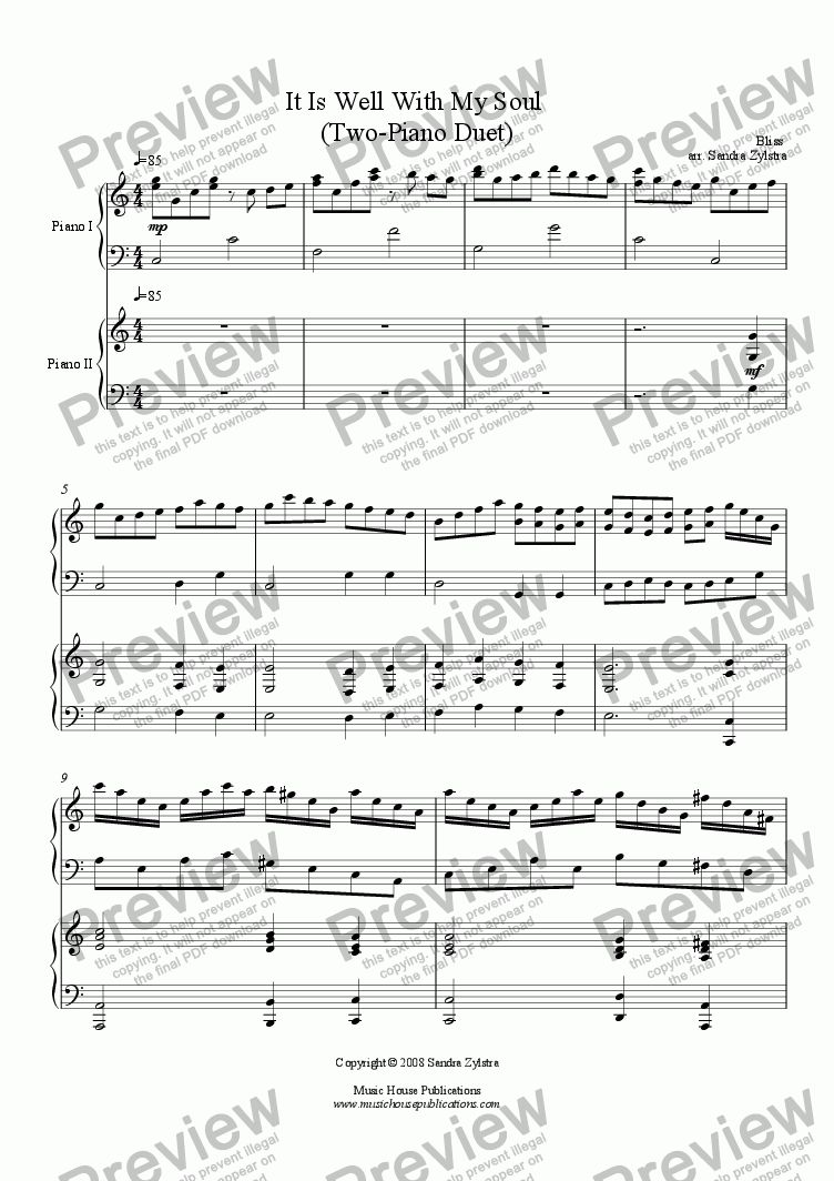 page one of It Is Well With My Soul (Two-piano duet)
