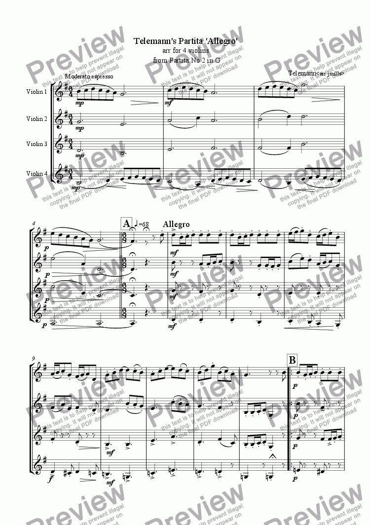 page one of Telemann's Partita 'Allegro'  for 4 violins