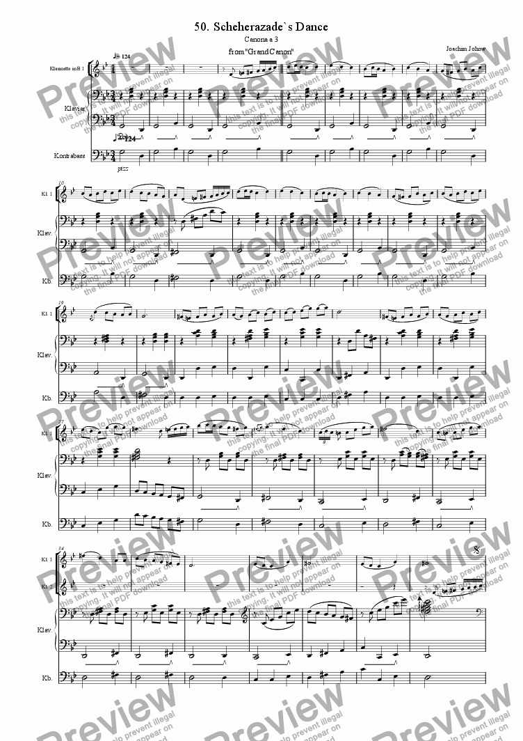 page one of Grand Canon 50 (Scheherazade`s Dance - 3 Cl B )