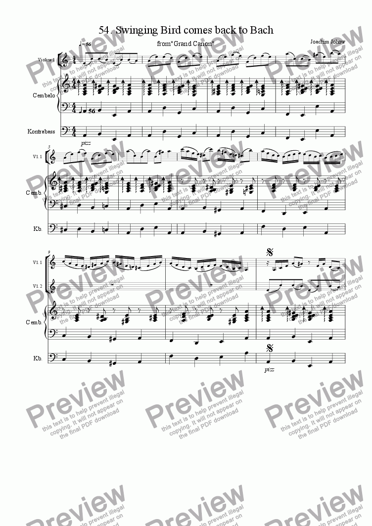 page one of Grand Canon 54 (Swinging Bird comes back to Bach - 3 Vl)
