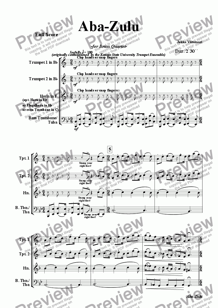 page one of Aba-Zulu (for brass quartet)