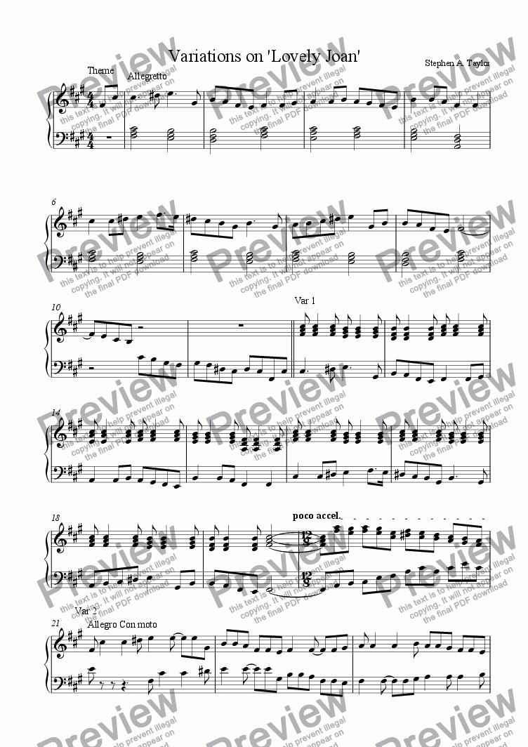 page one of Variations on Lovely Joan