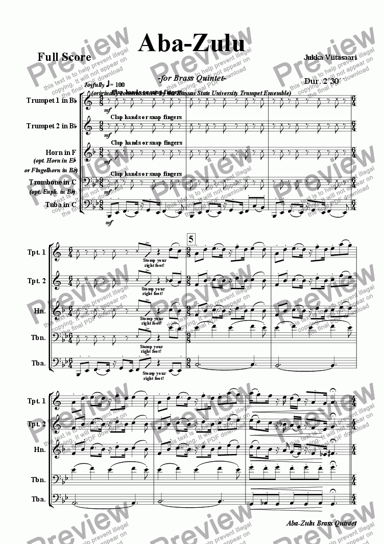 page one of Aba-Zulu (for brass quintet)