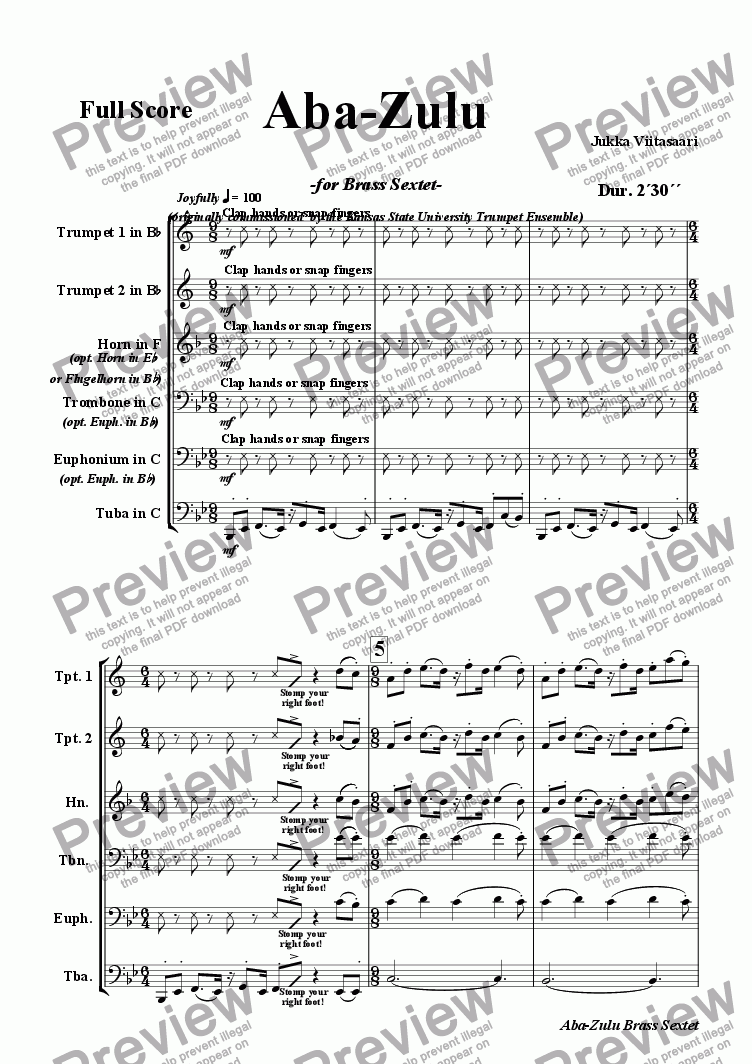 page one of Aba-Zulu (for brass sextet)