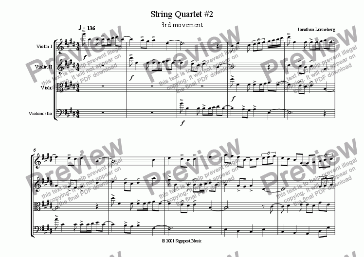 page one of String Quartet #2 - 3rd mvt.