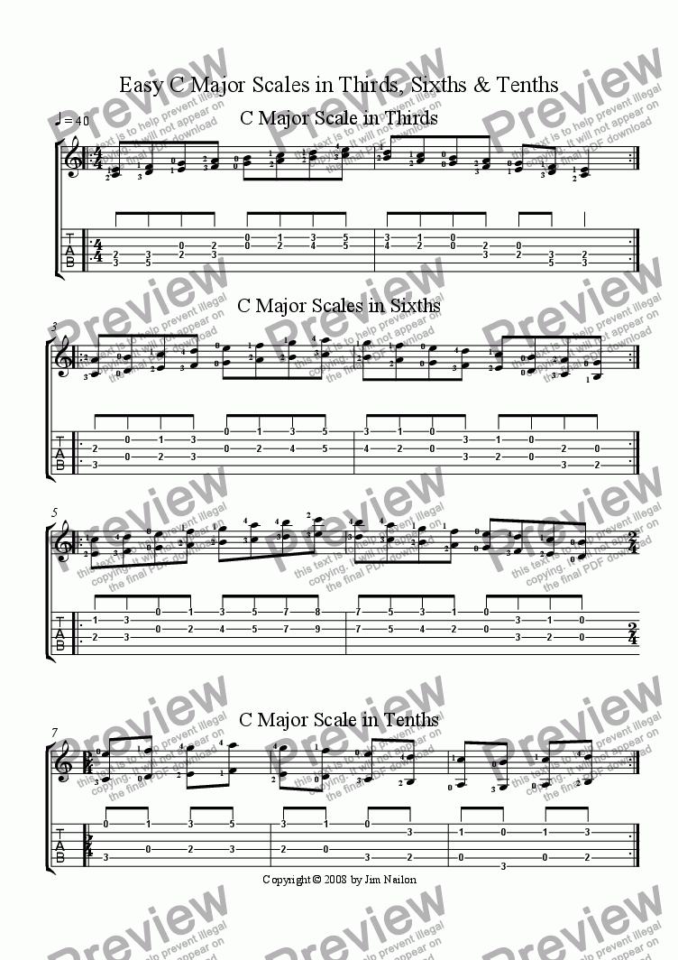 page one of Easy C Major Scales in Thirds, Sixths & Tenths