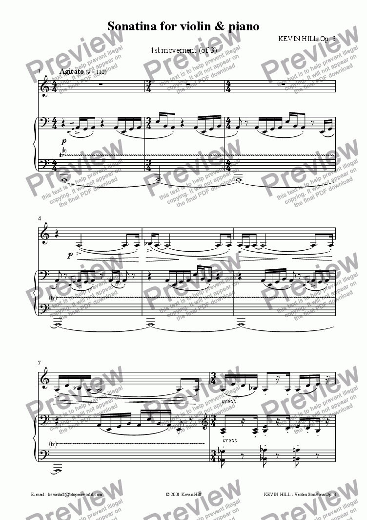 page one of Sonatina for violin & piano Op. 3 (1 of 3)