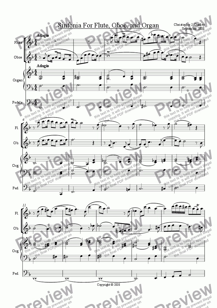 page one of Sinfonia For Flute, Oboe, and Organ