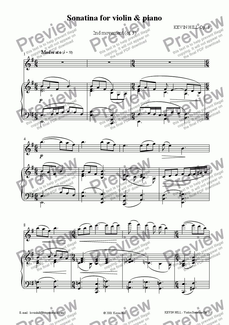 page one of Sonatina for violin & piano Op. 3 (2 of 3)