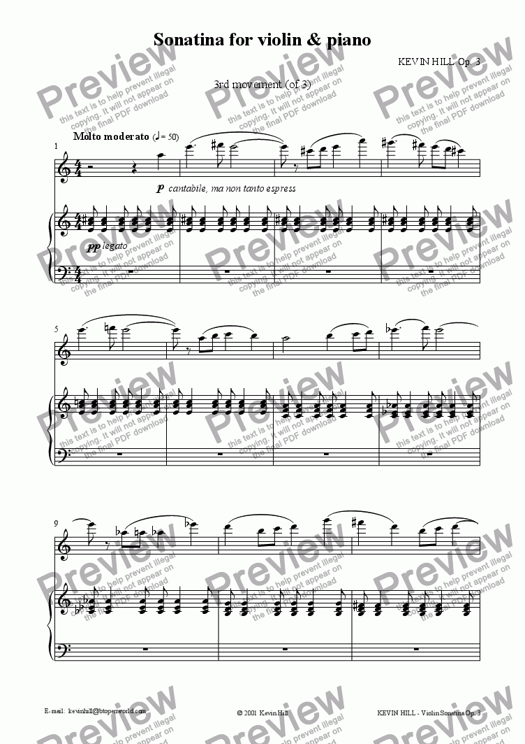 page one of Sonatina for violin & piano Op. 3 (3 of 3)