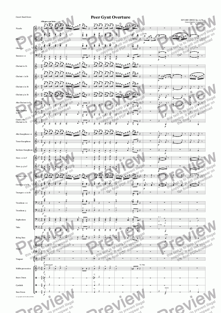page one of Grieg: Peer Gynt Overture Op. 23 No. 1 (Wind Band)