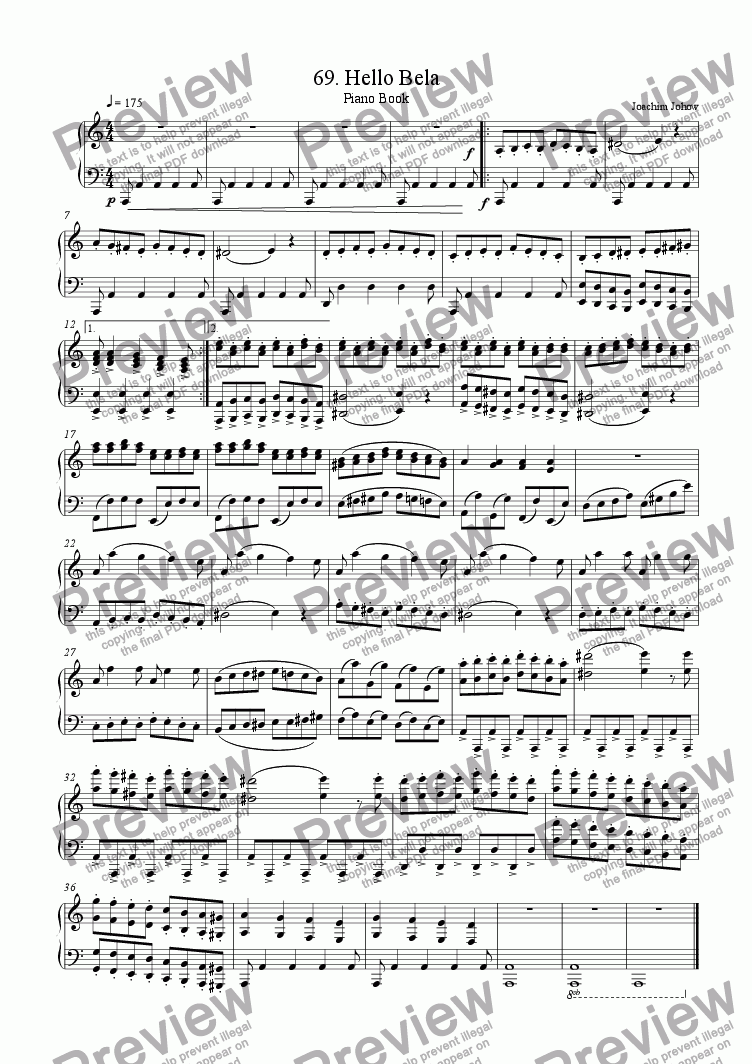 page one of Piano Book 069 (Hello Bela)