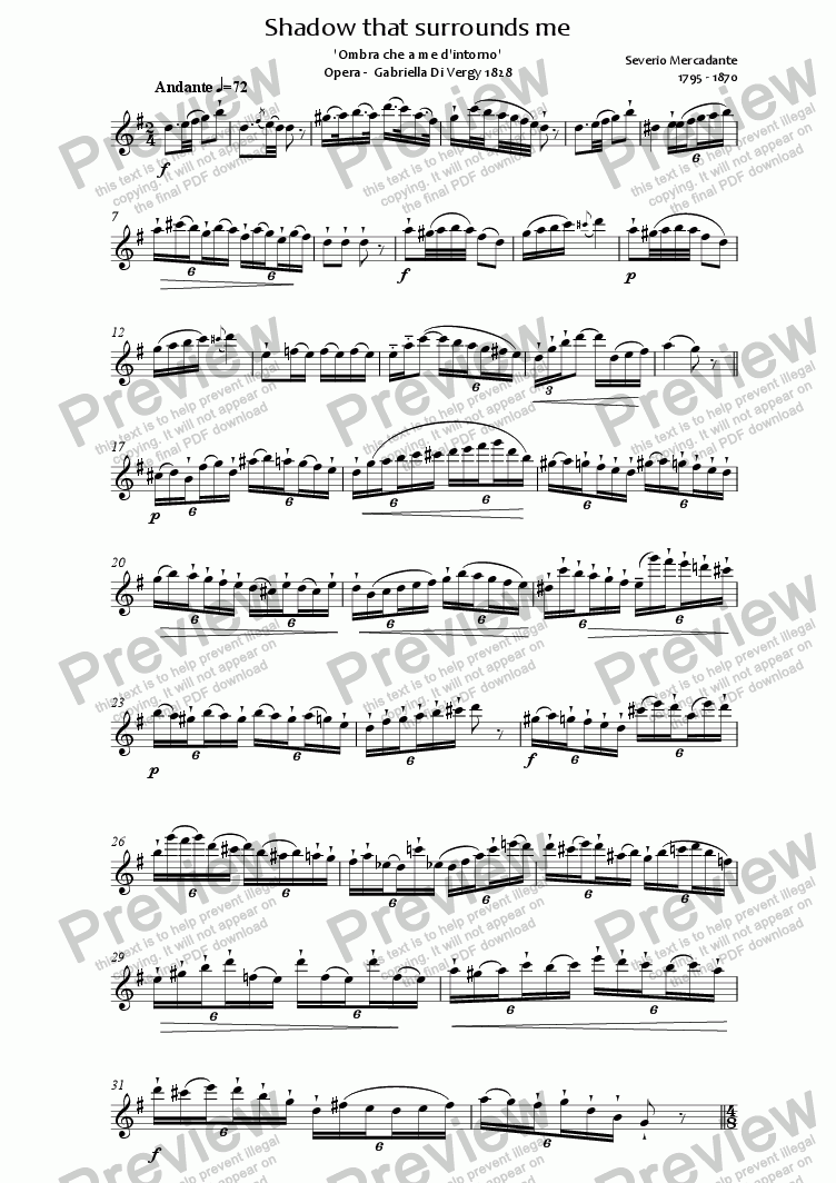 page one of Mercadante Shadow for Solo flute