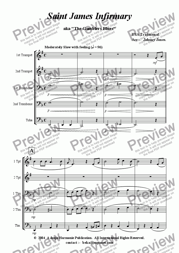 page one of St James Infirmary Blues  (Brass Quintet + )