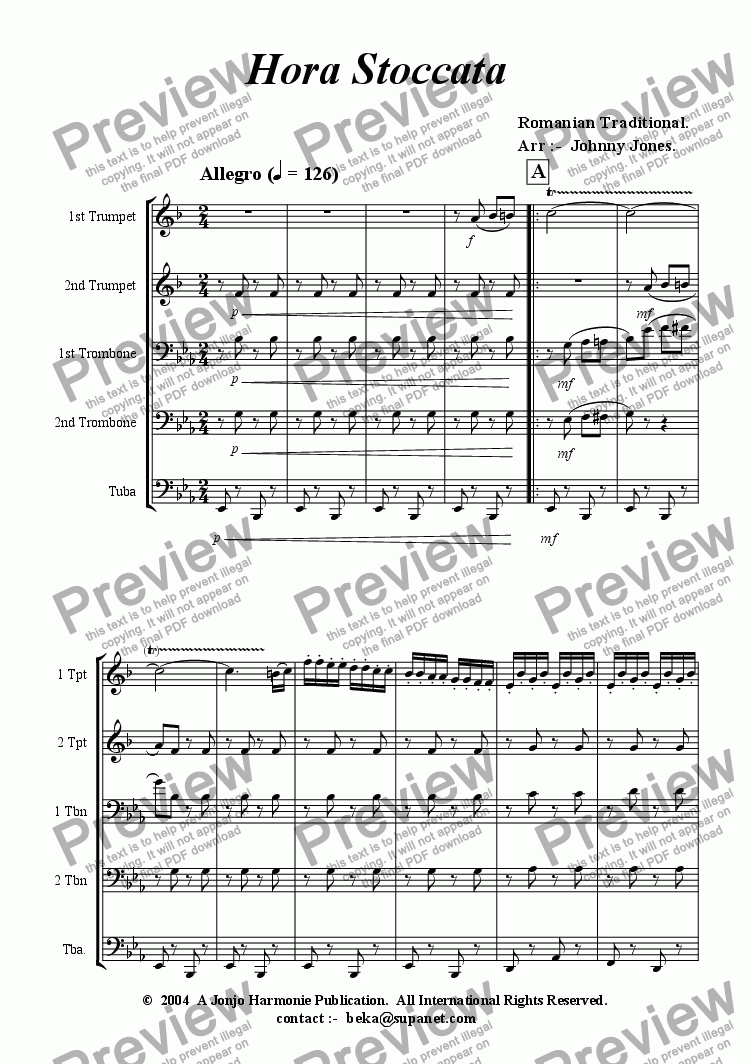 page one of Hora Staccato  (Brass Quintet +)
