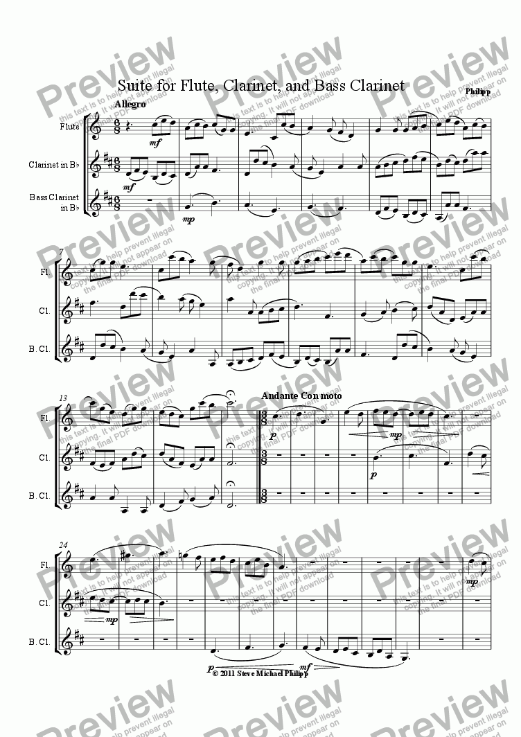 page one of Suite for Flute, Clarinet, and Bass Clarinet