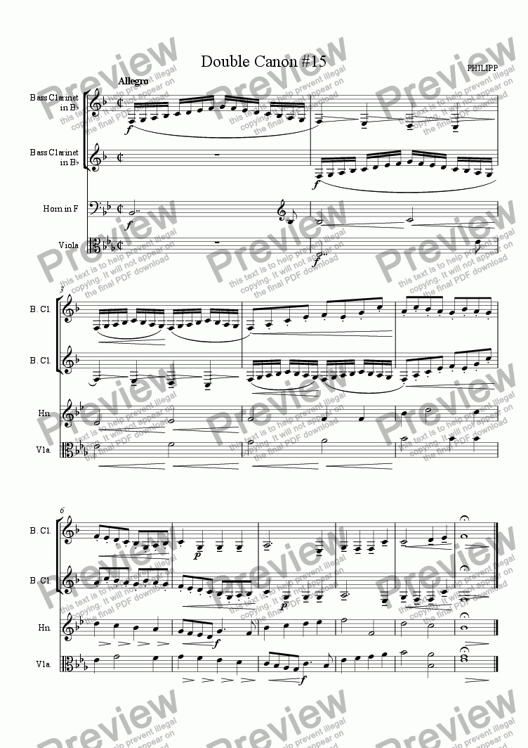page one of Double Canon #15 for 2 Bass Clarinets, Viola and French Horn