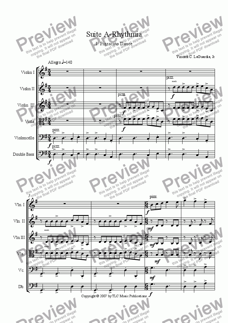 "page one of A Rhythmia - for String Orchestra - 1. ""Pizzacato Dance"""
