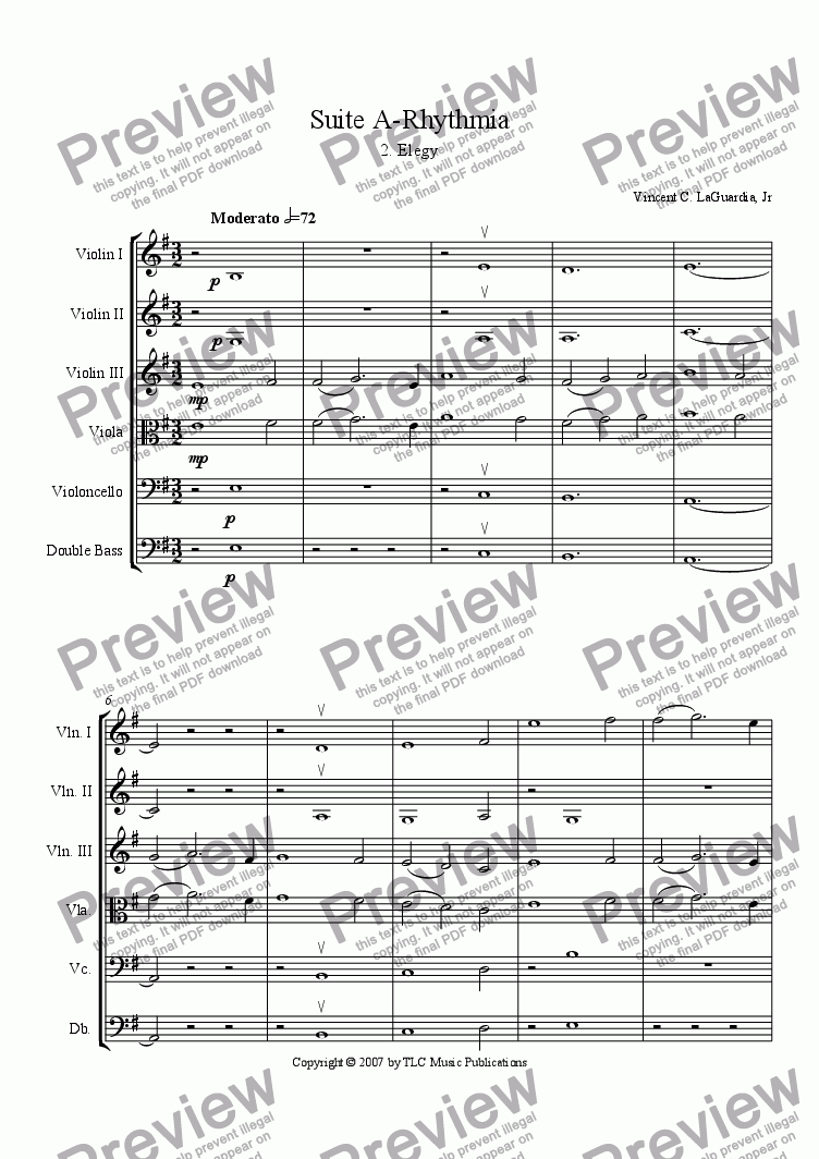 "page one of A Rhythmia - for String Orchestra - 2. ""Elegy"""