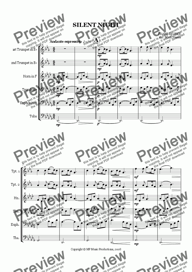 page one of Gruber - Silent Night (Sextet)