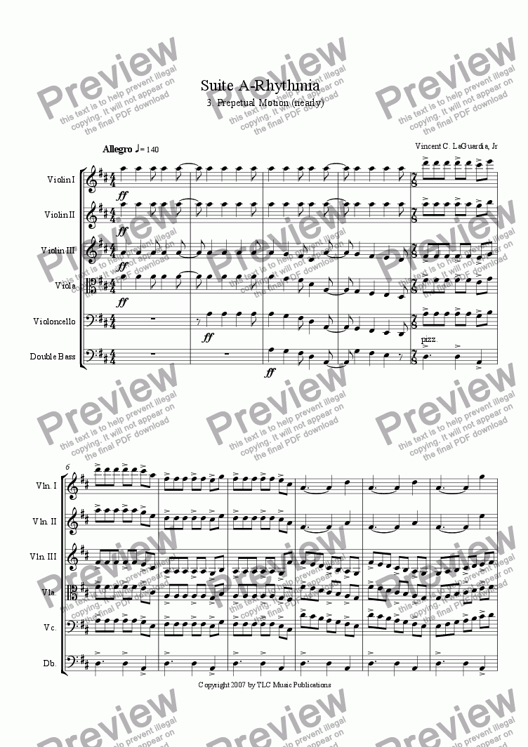 "page one of A Rhythmia - for String Orchestra - 3. ""Perpetual Motion"""